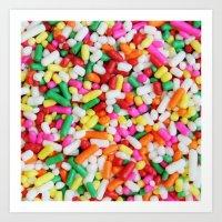 sprinkles Art Prints featuring Sprinkles by Beastie Toyz