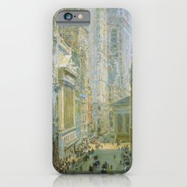 Classical Masterpiece 'Lower Manhattan - Broad and Wall Streets' by Frederick Childe Hassam iPhone Case