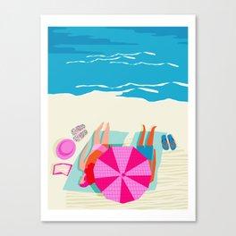 Toasty - memphis throwback minimal retro neon beach surfing suntan waves ocean socal pop art Canvas Print