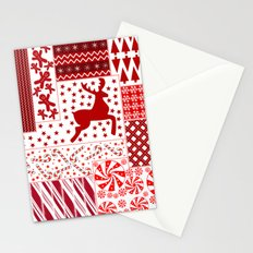 Christmas Red Quilt Holiday Design Stationery Cards
