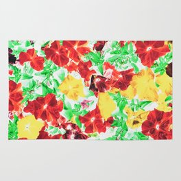 red flower and yellow flower with green leaf abstract background Rug