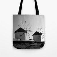 regina mills Tote Bags featuring Wind mills by Regina Trifeau