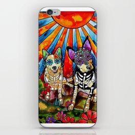 Australian Cattle Dog Sugar Skull Painting iPhone Skin
