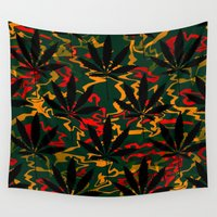 rasta Wall Tapestries featuring Rasta Leaves... by Cherie DeBevoise