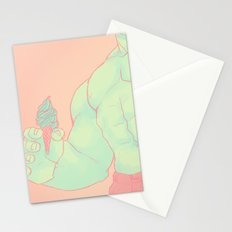 ENORMOUS GREEN ICE CREAM MONSTER Stationery Cards