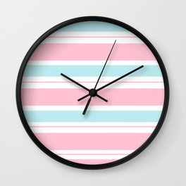 Pink Pastel Frosted Mint Blue Stripes Wall Clock