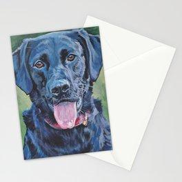 Black Lab LABRADOR RERIEVER dog portrait painting by L.A.Shepard fine art Stationery Cards