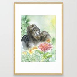 Gorilla in the Flowers Watercolor Framed Art Print