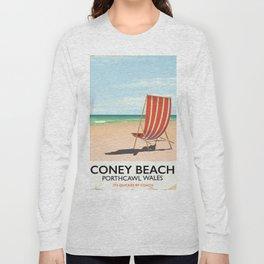 Coney Beach, Porthcawl, wales vintage seaside poster Long Sleeve T-shirt
