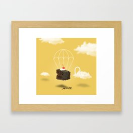 Isolated Chocolate cherry cake with parachute on yellow sky background Framed Art Print