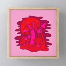 Pink Mushrooms Framed Mini Art Print