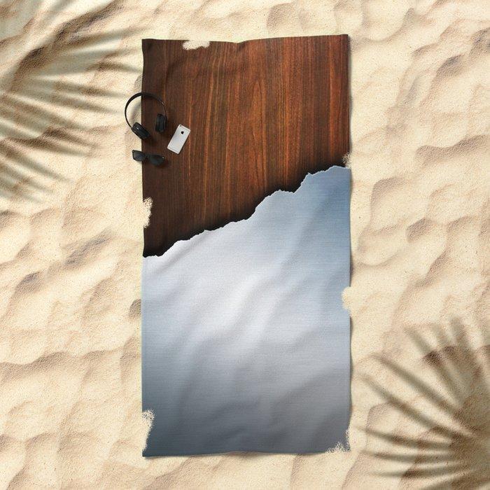 Wooden Brushed Metal Beach Towel