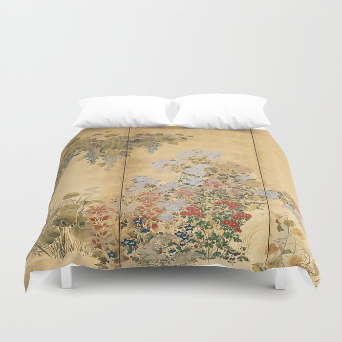 Japanese Edo Period Six-Panel Gold Leaf Screen - Spring and Autumn Flowers Duvet Cover