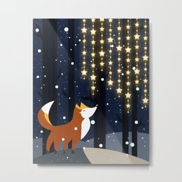 Fox and stars Metal Print