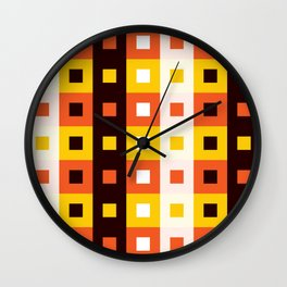 Geometric Pattern #74 (orange stripes squares) Wall Clock