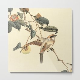 Vintage brown ivory bird floral tree branch Metal Print