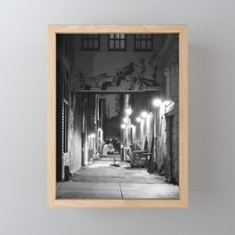 Lights, Alley, Art Framed Mini Art Print