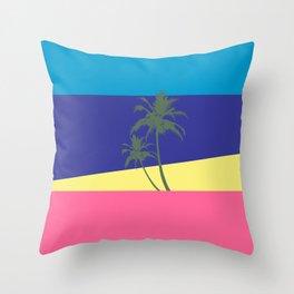 Miami Beach, Palm tree, sun sand sea, Beach Pop Art Throw Pillow