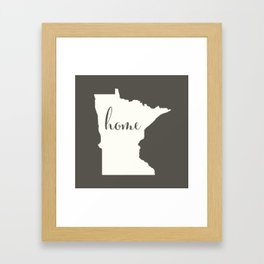 Minnesota is Home - White on Charcoal Framed Art Print