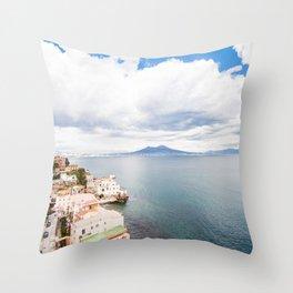 Posillipo view on the bay of Naples Throw Pillow