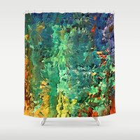 contemporary Shower Curtains featuring Contemporary landscape by Rafi Talby - Painter