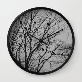 Roosting birds on silhouette tree Wall Clock