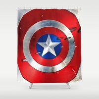 agents of shield Shower Curtains featuring SHIELD by Smart Friend