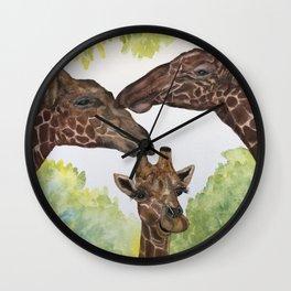 Giraffe Love by Maureen Donovan Wall Clock