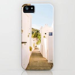 White streets of Mediterranean island - Stromboli, Sicily, Italy - Fine Art Travel Photography iPhone Case