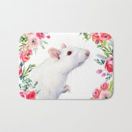 White Rat with Flowers Watercolor Floral Pattern Animal Bath Mat
