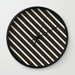 Molasses Diagonal Stripes Wall Clock