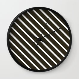 Molasses Diagonal Stripes Wall Clock