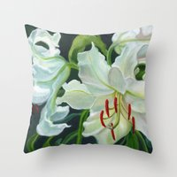 casablanca Throw Pillows featuring Casablanca Lillies by Ellen Sullivan Farley