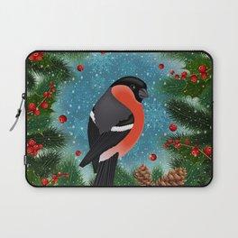 Bullfinch bird with fir tree decoration Laptop Sleeve