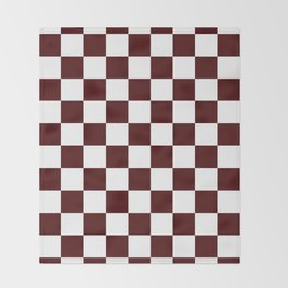 Checkered - White and Bulgarian Rose Red Throw Blanket