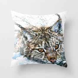 Lynx Wild and Free Throw Pillow