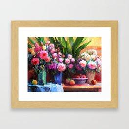 Roses and Aspidistra Plant Framed Art Print