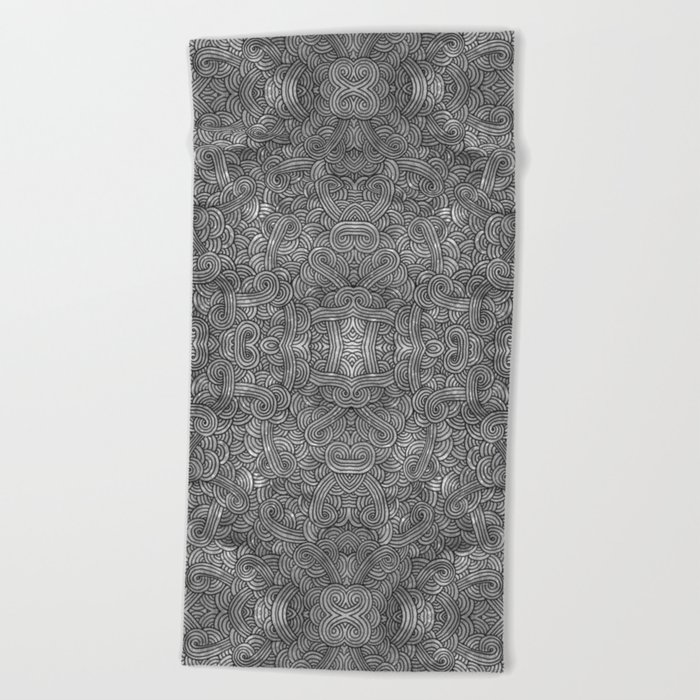 Grey and black swirls doodles Beach Towel