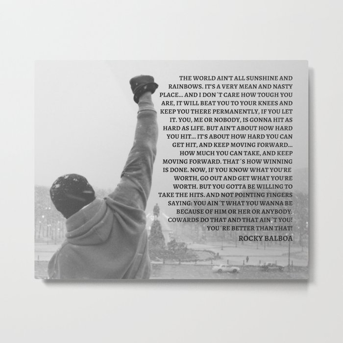 Rocky Balboa, Rocky poster, Rocky, Boxing, boxing speech, Inspirational Wall art, rocky balboa quote Metal Print