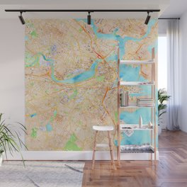 Boston watercolor map XL version Wall Mural