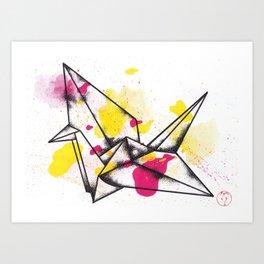 Origami Crane Explosion Art Print