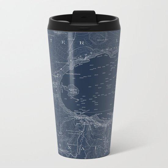 Crater Lake Blueprint Map Design Metal Travel Mug