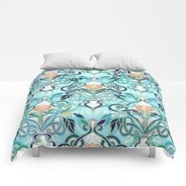 Ocean Aqua Art Nouveau Pattern with Peach Flowers Comforters