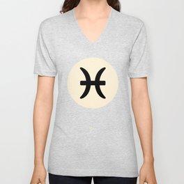 Pisces Symbol Black Unisex V-Neck