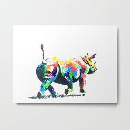 Rainbow Rhino Metal Print