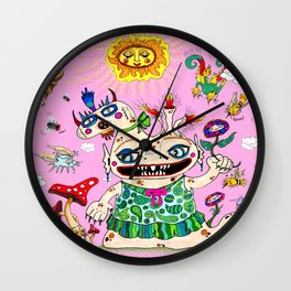 Little Baby Girl She-Beast and Friends, Pink Wall Clock