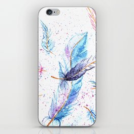 Watercolor Feather Art Pattern iPhone Skin