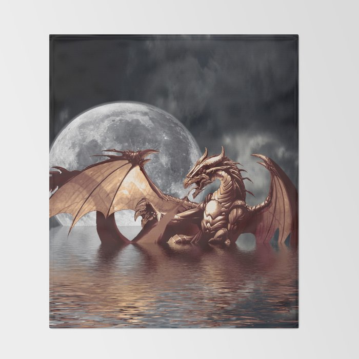mystical dragon and moon fantasy design throw blanket by onlinegifts
