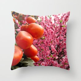 Orange Clementines and Pink Trees Throw Pillow
