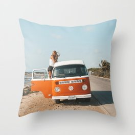 Combi van girl Throw Pillow